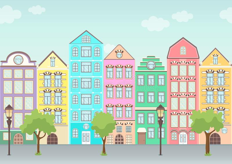 Street with colorful houses, trees and lanterns, seamless border, urban landscape, old city background. Multicolored European royalty free illustration