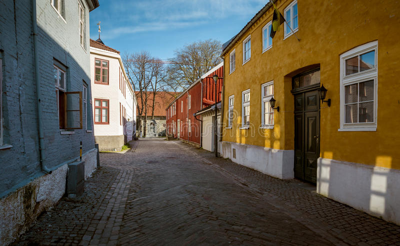 Street with colorful houses in Trondheim royalty free stock images