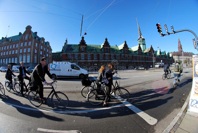 Street in Copenhagen, fisheye shot stock photo