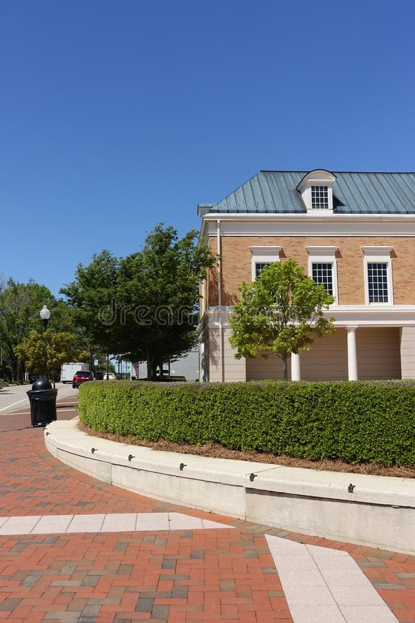 Street Corner in Downtown Cary, North Carolina stock images