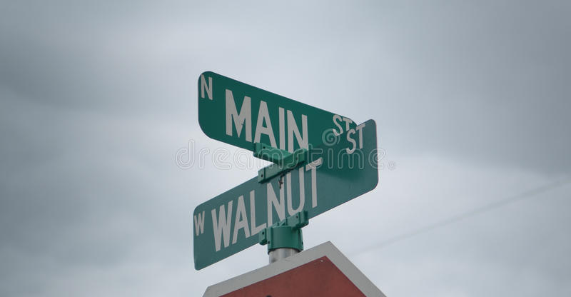 Street corner signs. Corner street green signs in America stock photos