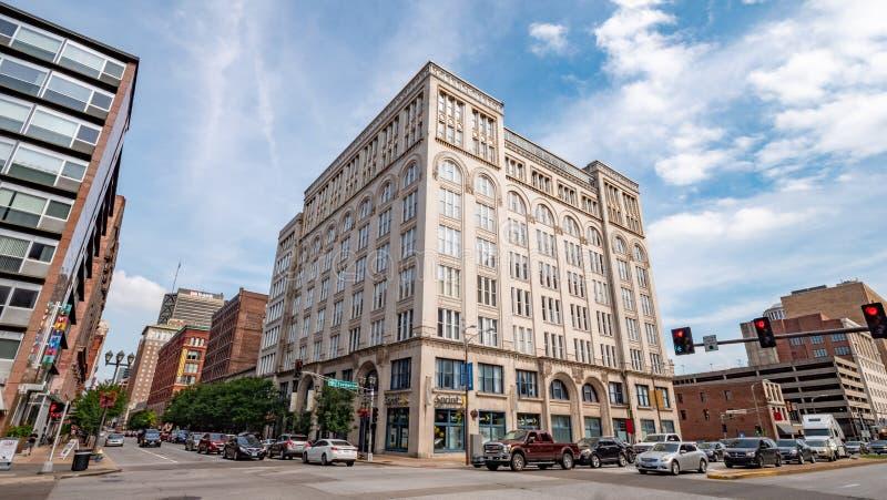 Street corner at Tucker Blvd in St. Louis - ST. LOUIS, USA - JUNE 19, 2019 stock image