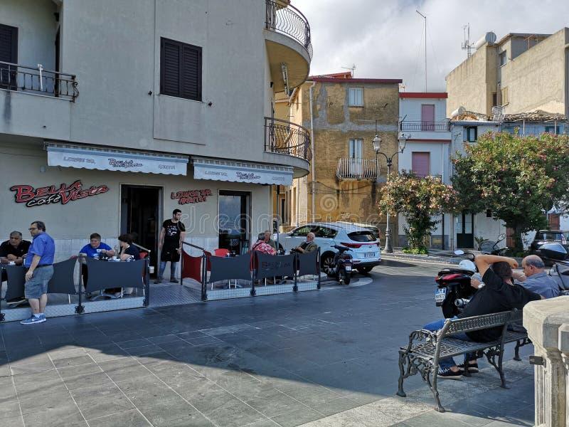 Street corner typical caffè, Scilla stock photos