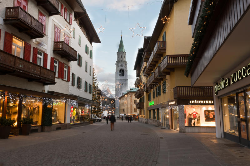 Street in Cortina d'Ampezzo, Italy royalty free stock photos