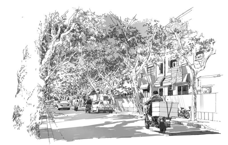 Street covered with arched tree branches. Sketch of street covered with arched tree branches,French Concession,Shanghai royalty free illustration