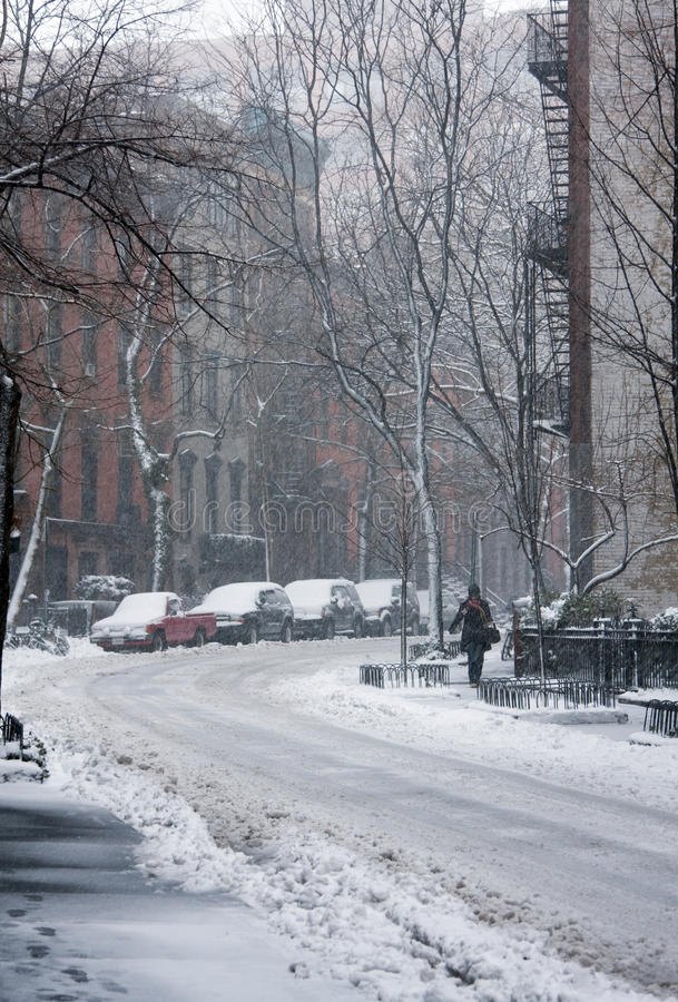 Street covered in snow royalty free stock photography