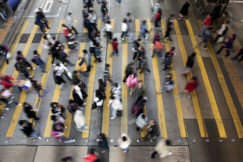 Street Crossing in Hong Kong royalty free stock images