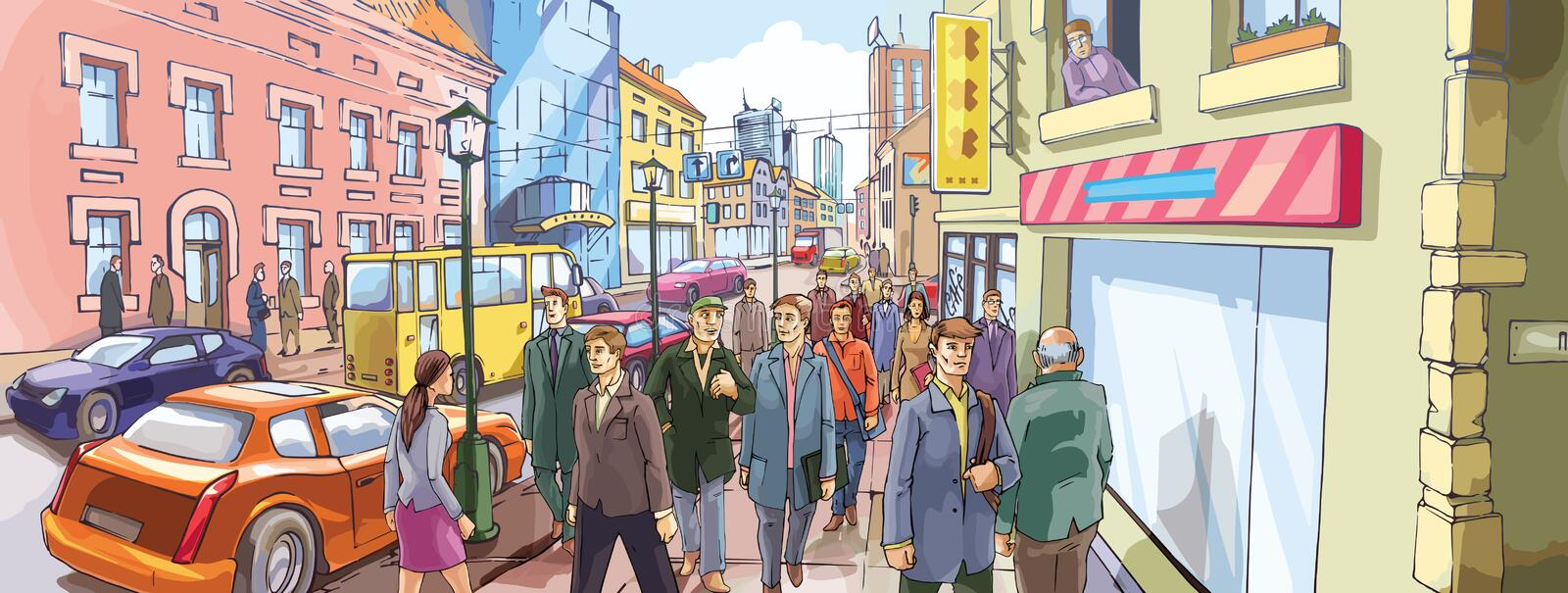 Street Crowd. People are going along the crowded city street. - This image is the 100% editable vector. - Includes: the Illustrator v.10 vector EPS file and the royalty free illustration