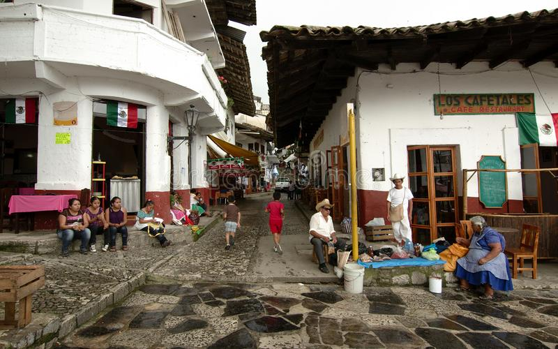 A street in Cuetzalan near the zocalo royalty free stock photography