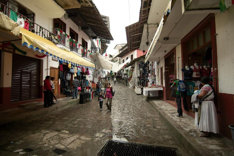 A street in Cuetzalan near the zocalo royalty free stock image