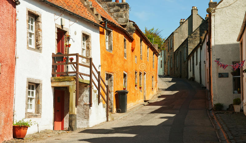 A street in Culross. The town of Culross is a former royal burgh in Fife, Scotland royalty free stock photos