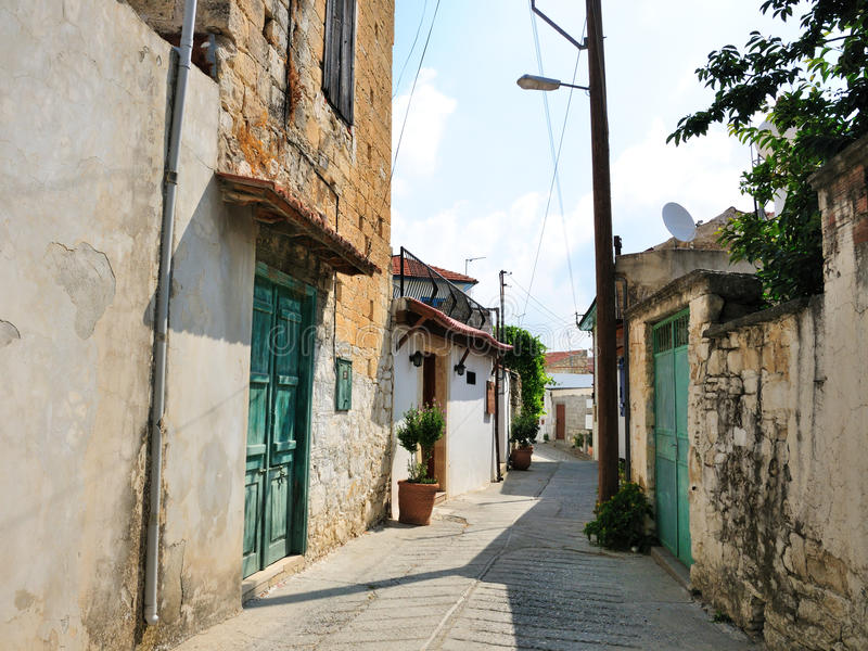 Street in Cyprus village stock photos