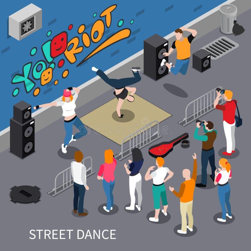 Street Dance Isometric Composition vector illustration