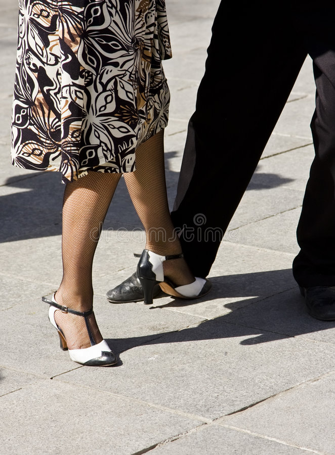 Street dancers playing tango royalty free stock photography