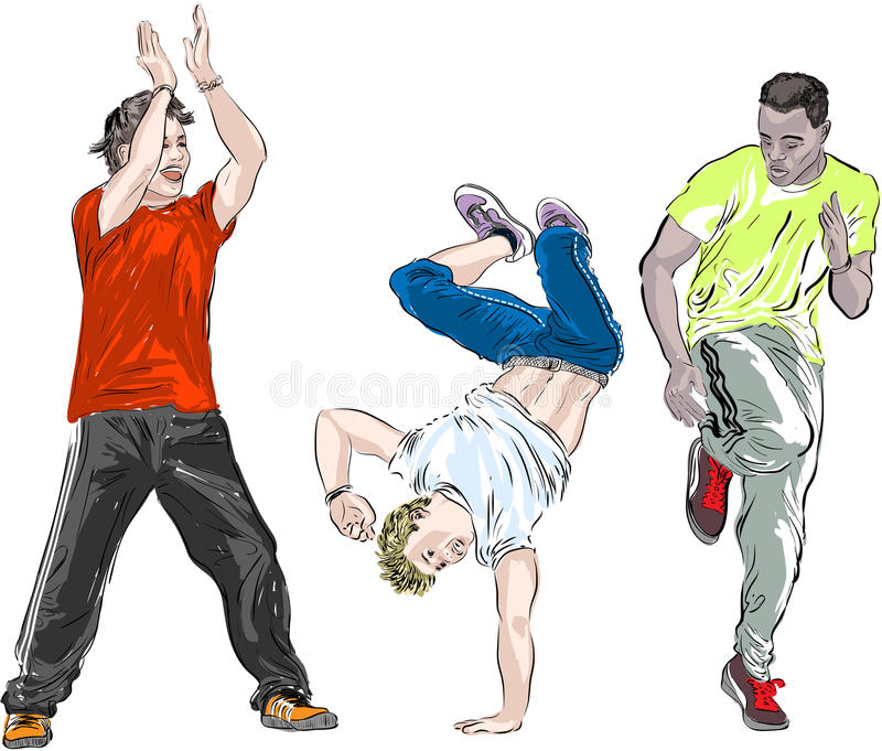 Street dancers on a white background stock illustration