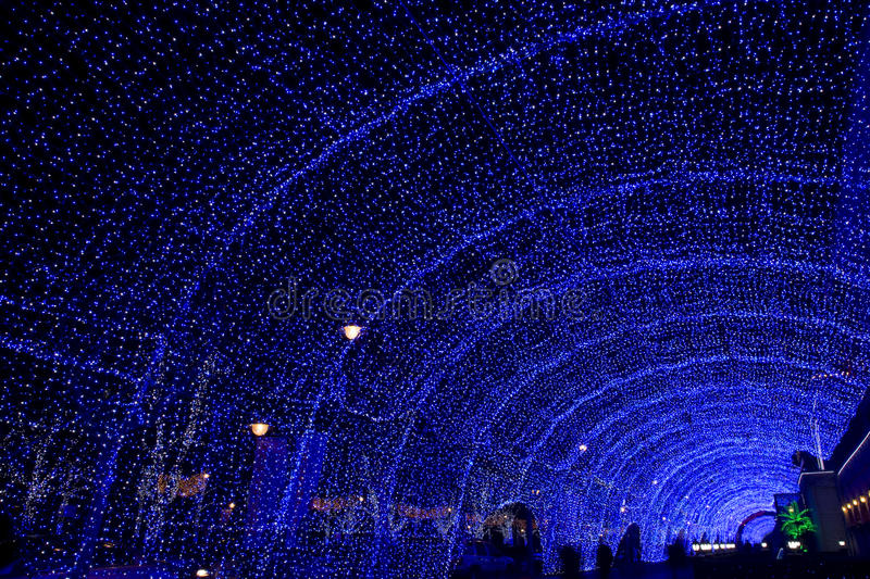Download Street Decorated By Blue Lighting Royalty Free Stock Photos - Image: 12568988