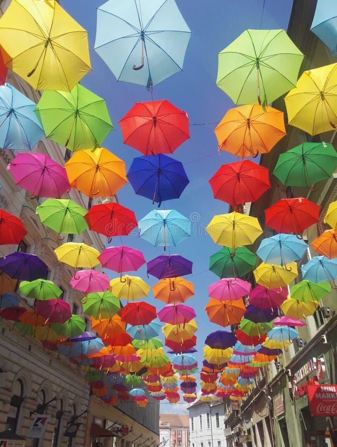 Street decorated with colored umbrellas, Timisoara, Romania. Hundreds of beautiful umbrellas hanging over the streets of Timisoara, Romania stock photos