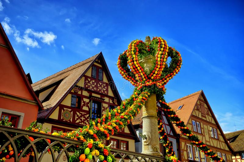 Street decorated for easter in rothenburg ob der tauber. Cityscape of decorated street for easter in the old quarter of rothenburg ob der tauber bavaria germany royalty free stock image