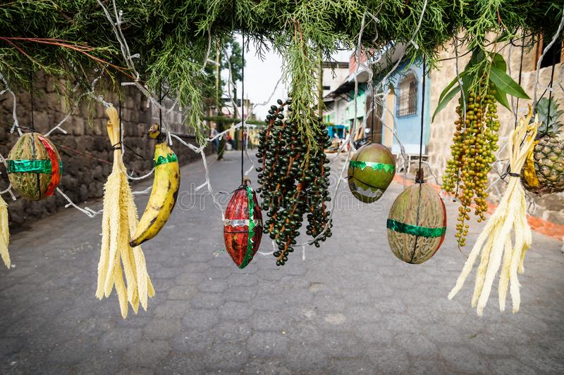 Street decoration for Easter with vegetables and corn, Santiago, Lago de Atitlan, Guatemala. Street decoration for Easter with vegetables and corn with foil royalty free stock photos