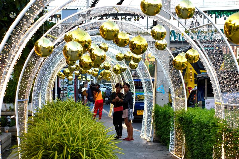 Street decoration for the new year. Christmas golden big balls. Christmas decorations outdoor stock photography