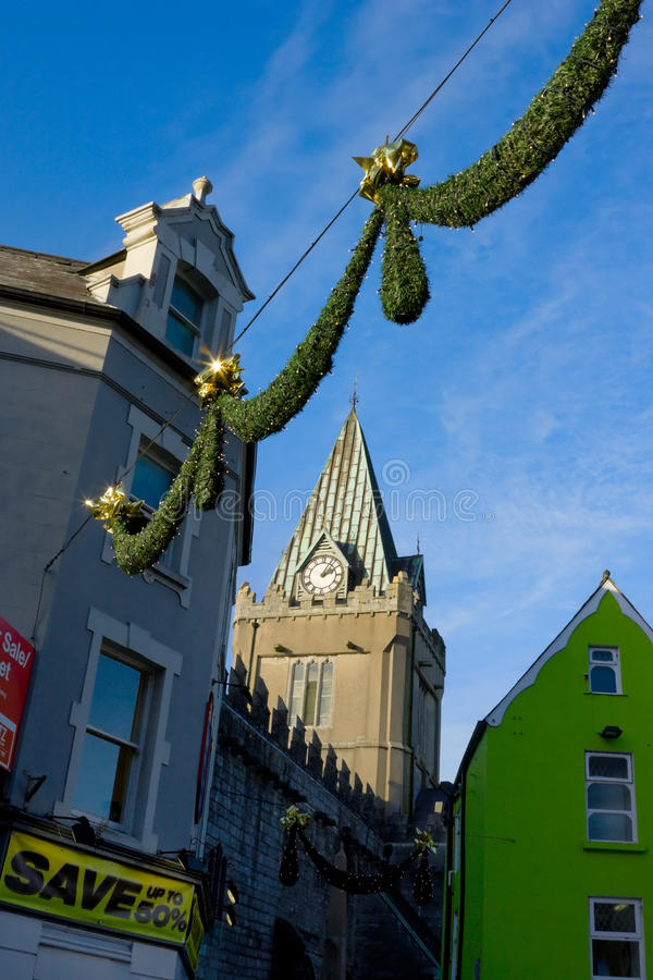 Download Street With Decorations And Cherch Stock Photo - Image: 12132618