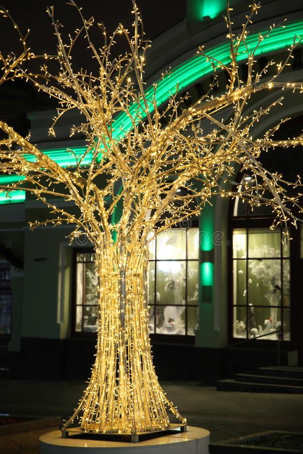 Street decorations, Shiny Golden ornamental tree in led lights. On the background of the house royalty free stock photos