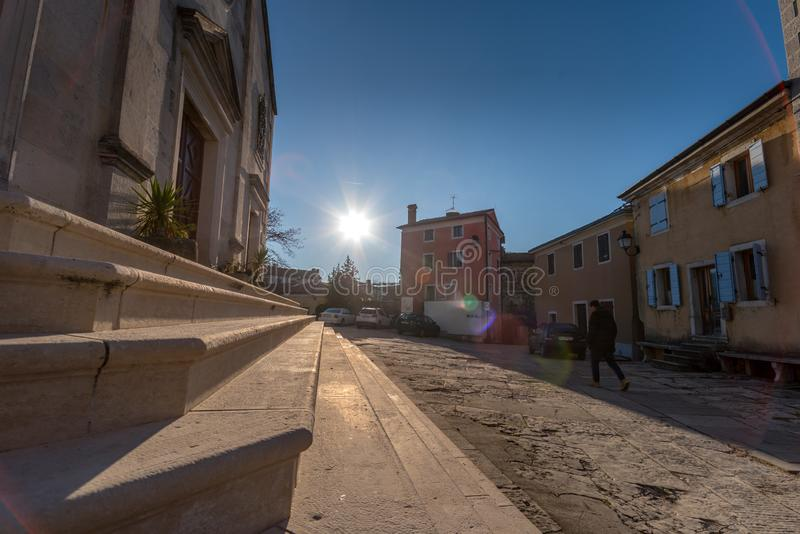 Street detail of Oprtalj, Istria at afternoon. Street of old Town Oprtalj, Istria, Croatia, photographed with my Nikon D750 at Winter afternoon stock photo