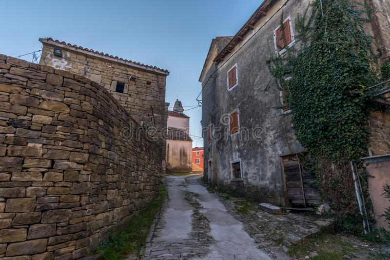 Street detail of Oprtalj, Istria. Street of old Town Oprtalj, Istria, Croatia, photographed with my Nikon D750 at Winter afternoon royalty free stock photography