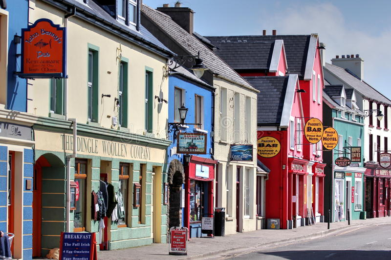 Street in Dingle. Houses of Dingle (co Kerry, Ireland royalty free stock images