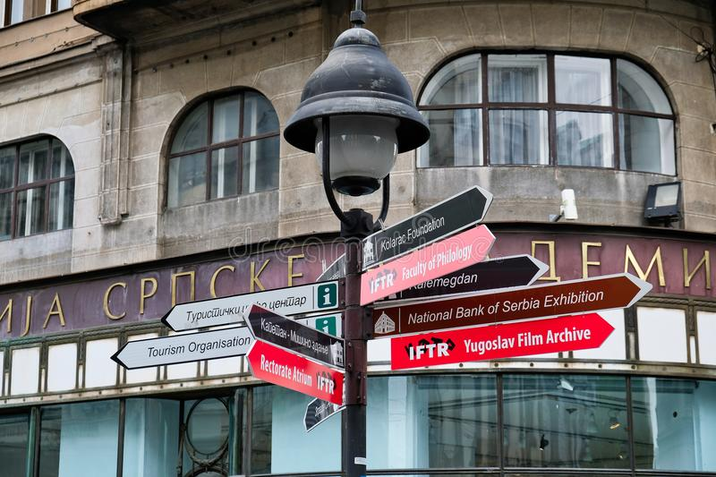Street Direction Signs, Belgrade, Serbia royalty free stock photography