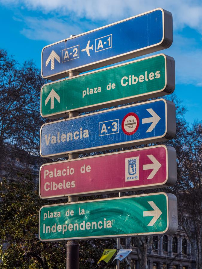 Street direction signs in Madrid. Travel photography stock photo