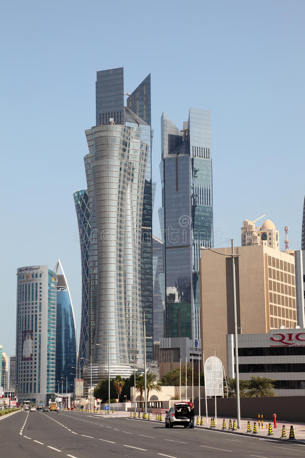 Street in Doha downtown Al Dafna. Qatar