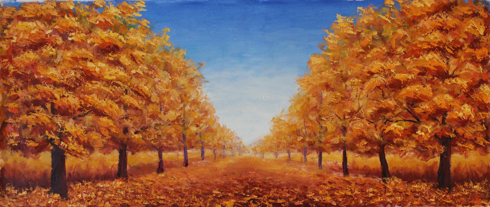 The street is dotted with yellow leaves. Trees in autumn on a background of blue sky with clouds stock photo