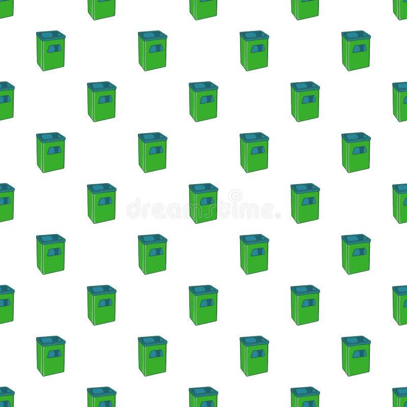 Street dustbin pattern, cartoon style. Street dustbin pattern. Cartoon illustration of street dustbin vector pattern for web stock illustration
