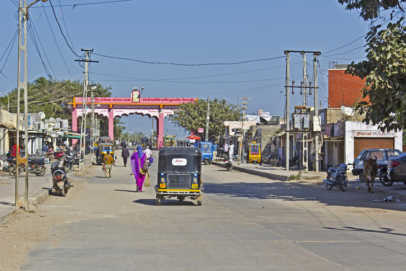 Street in Dwarka. FEB 11, 2015, DWARKA, INDIA - Central street in the sacred town Dwarka stock image