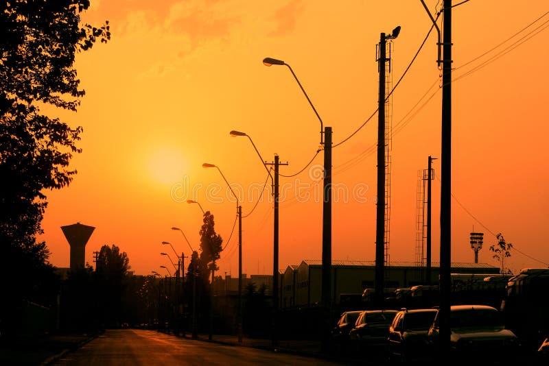 Download Street electric pillars stock image. Image of orange - 13070811