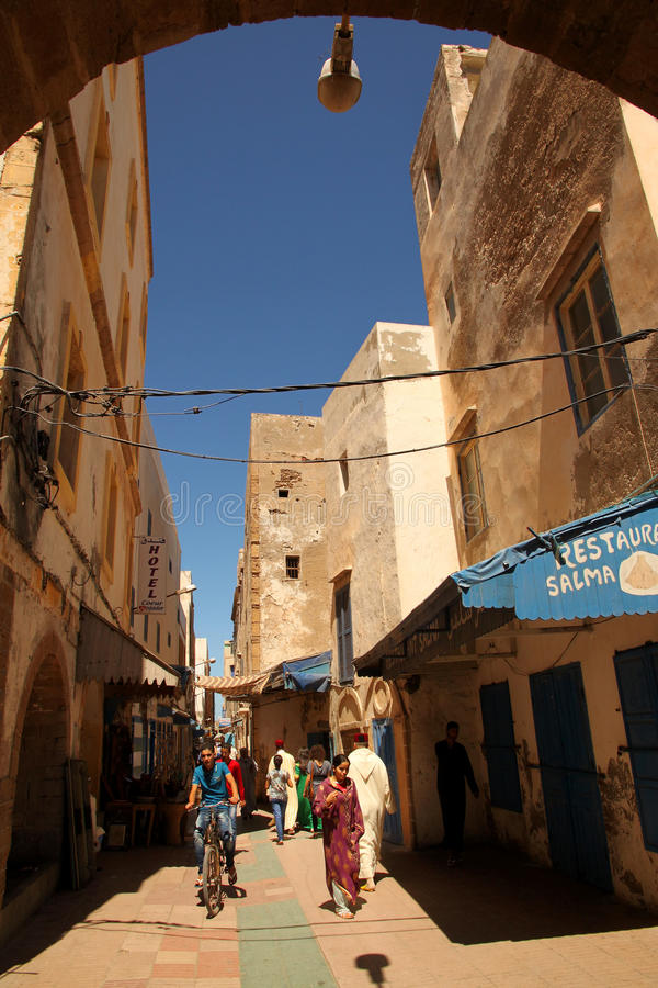 Street in Essaouira. Street in the beautiful old port city of Essaouira, Morocco stock photos