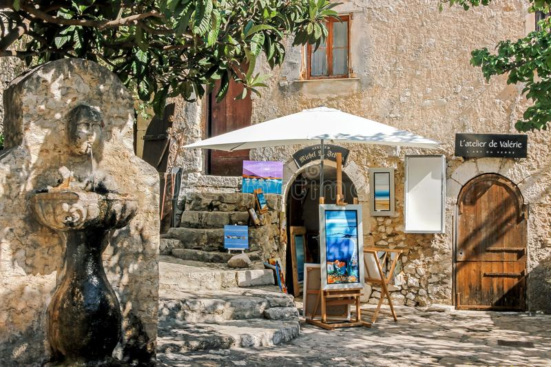 Street in Eze village royalty free stock image