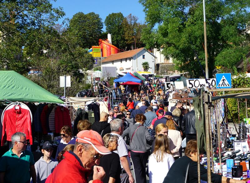 Street fair and market in Croatian town of Kastav during the festival of celebration of young wine royalty free stock images