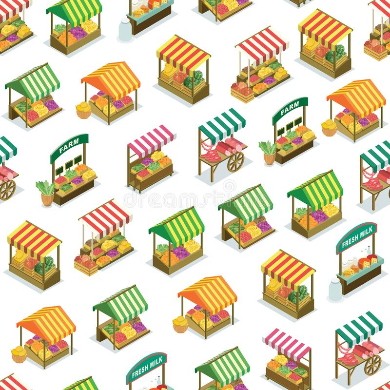 Street farm market counter seamless pattern. Street farm market food counter with fruits and vegetables seamless pattern. Portable vendor booth with canopy royalty free illustration