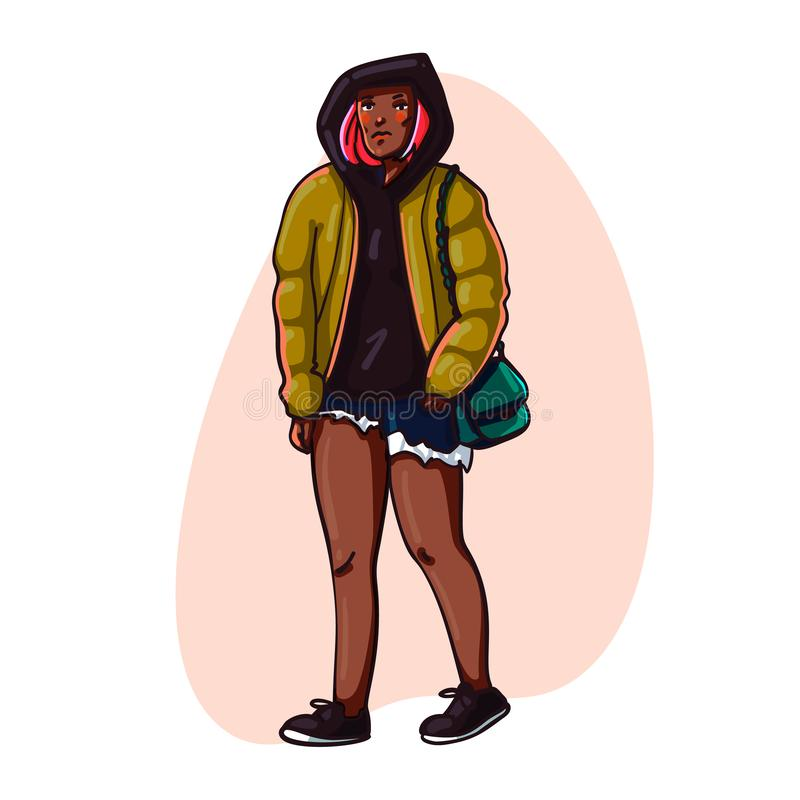 Street fashion. Beautiful girl in trendy clothes. Urban casual outfit. Hand drawn Vector illustration royalty free illustration