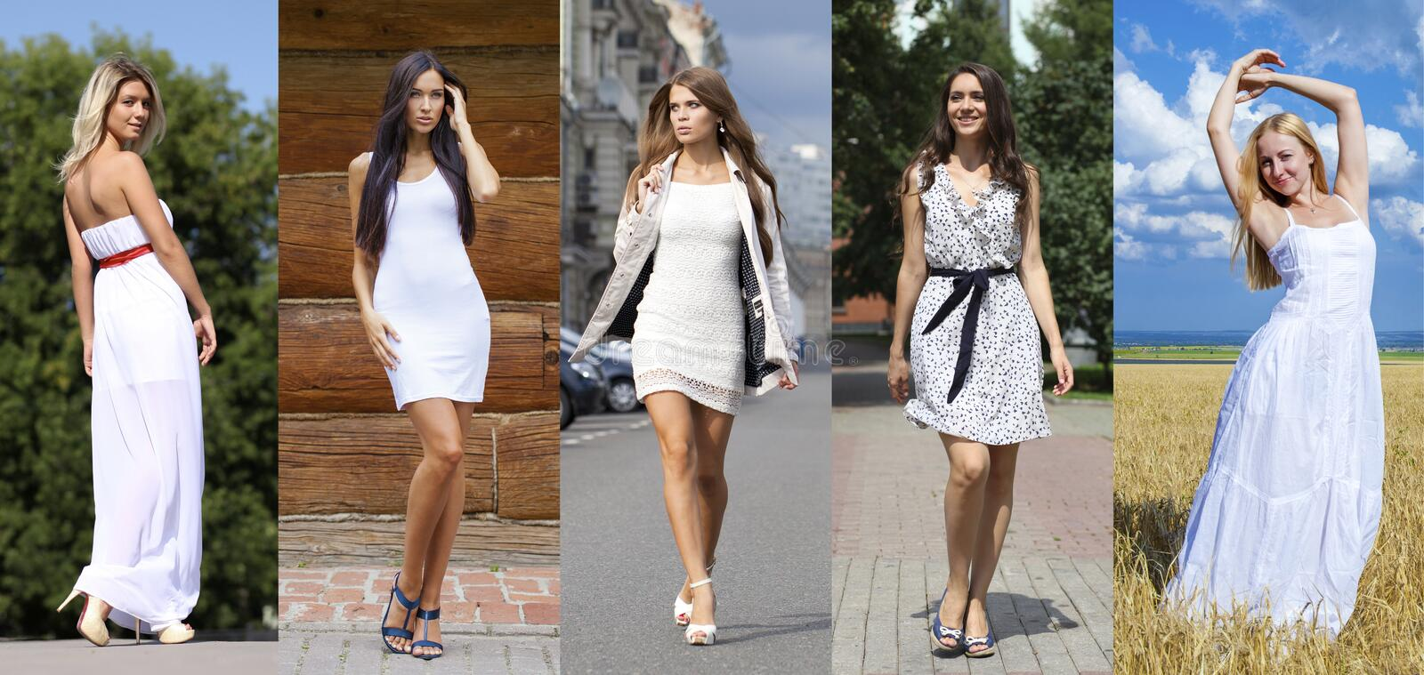 Street Fashion, Beautiful young women. Collage five models in white dress. Street Fashion, Beautiful young women royalty free stock photo