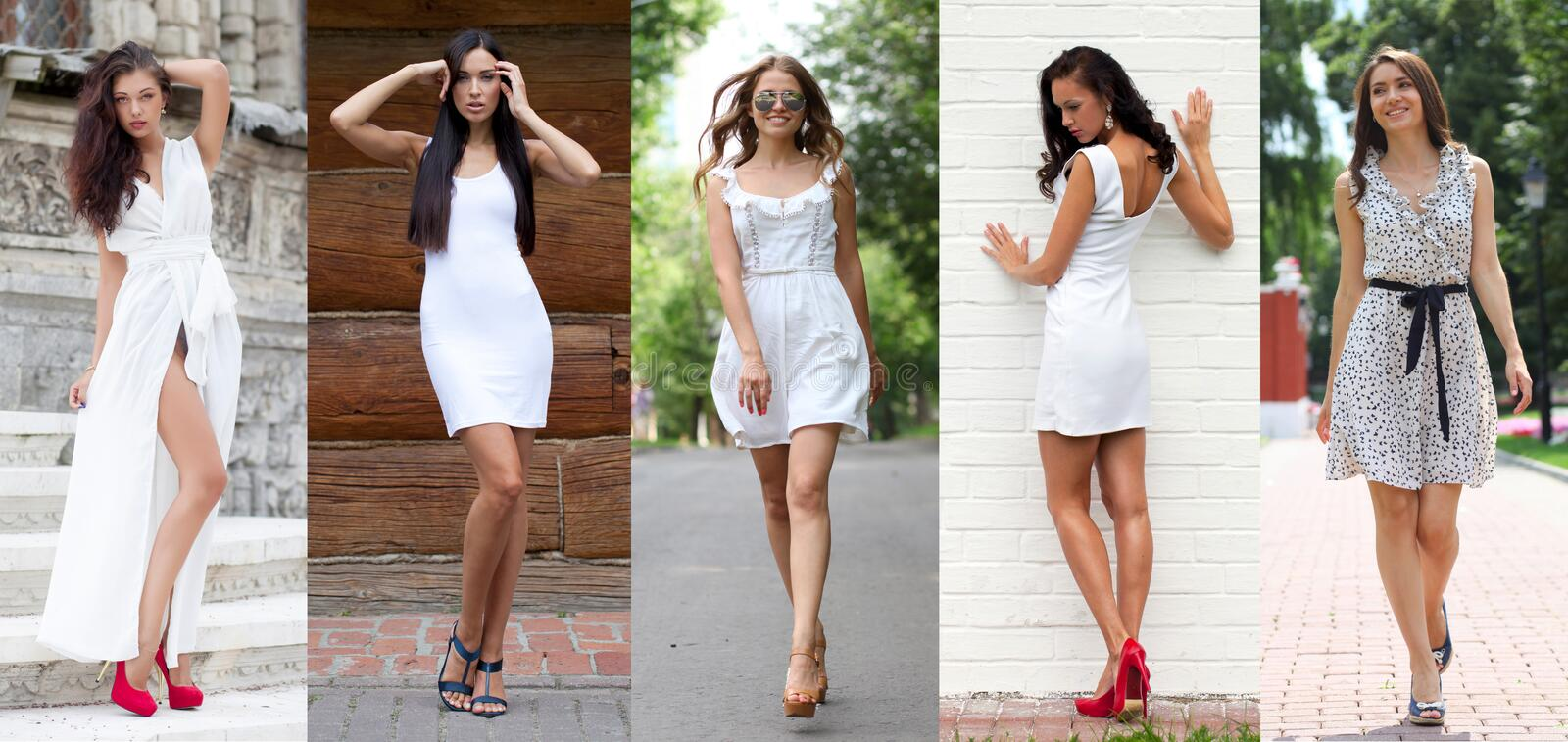 Street Fashion, Beautiful young women. Collage five models in white dress. Street Fashion, Beautiful young women stock images