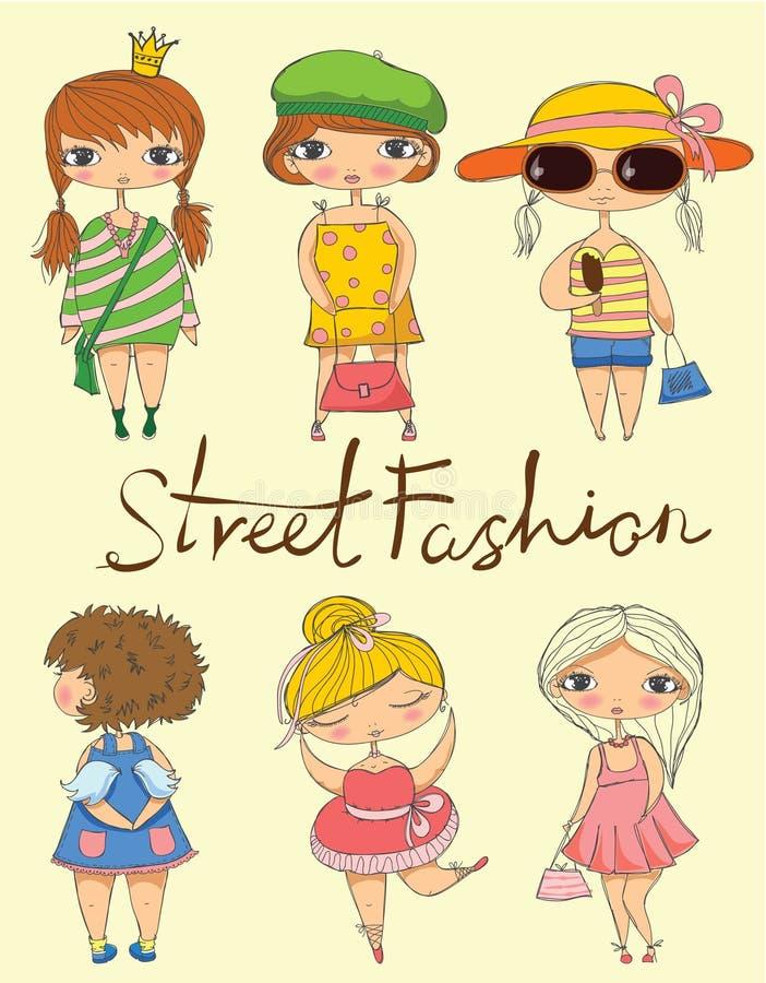 Street fashion. Cute stylish fashion girls present street fashion vector illustration