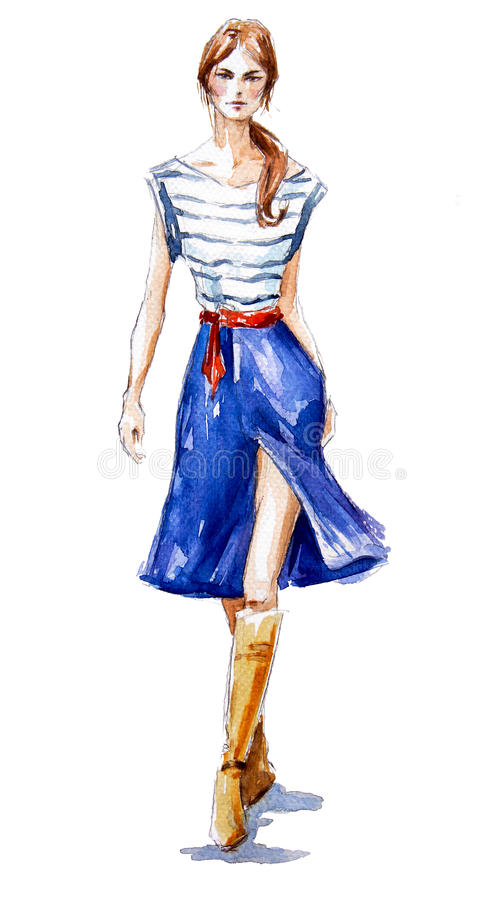 Street fashion. fashion illustration of a girl walking. Summer look. watercolor painting. royalty free illustration