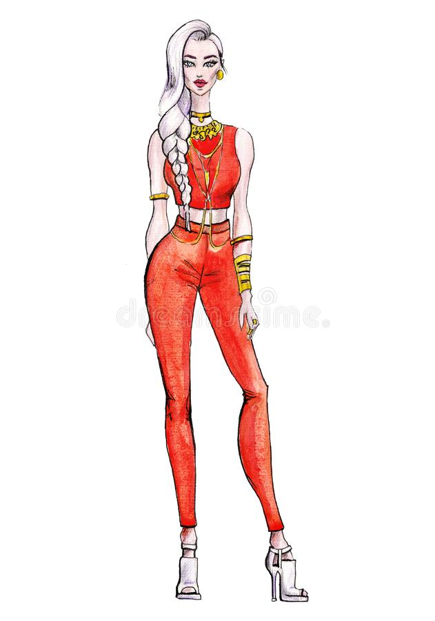 Street fashion. watercolor fashion illustration. art sketch of beautiful young woman vector illustration
