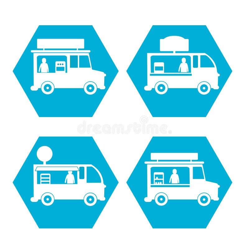Street Fast food truck icon set stock illustration