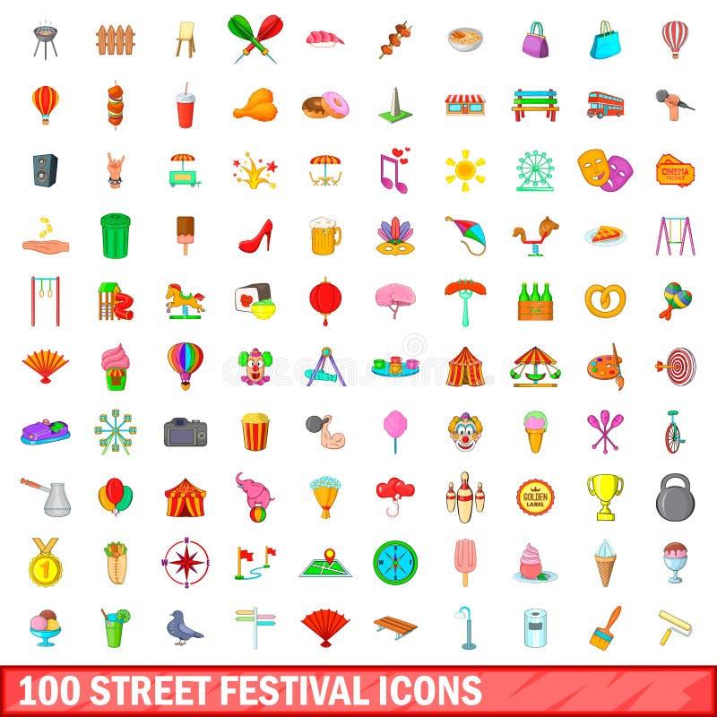 100 street festival icons set, cartoon style. 100 street festival icons set in cartoon style for any design vector illustration stock illustration