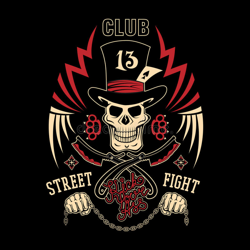 Street fight emblem vector illustration