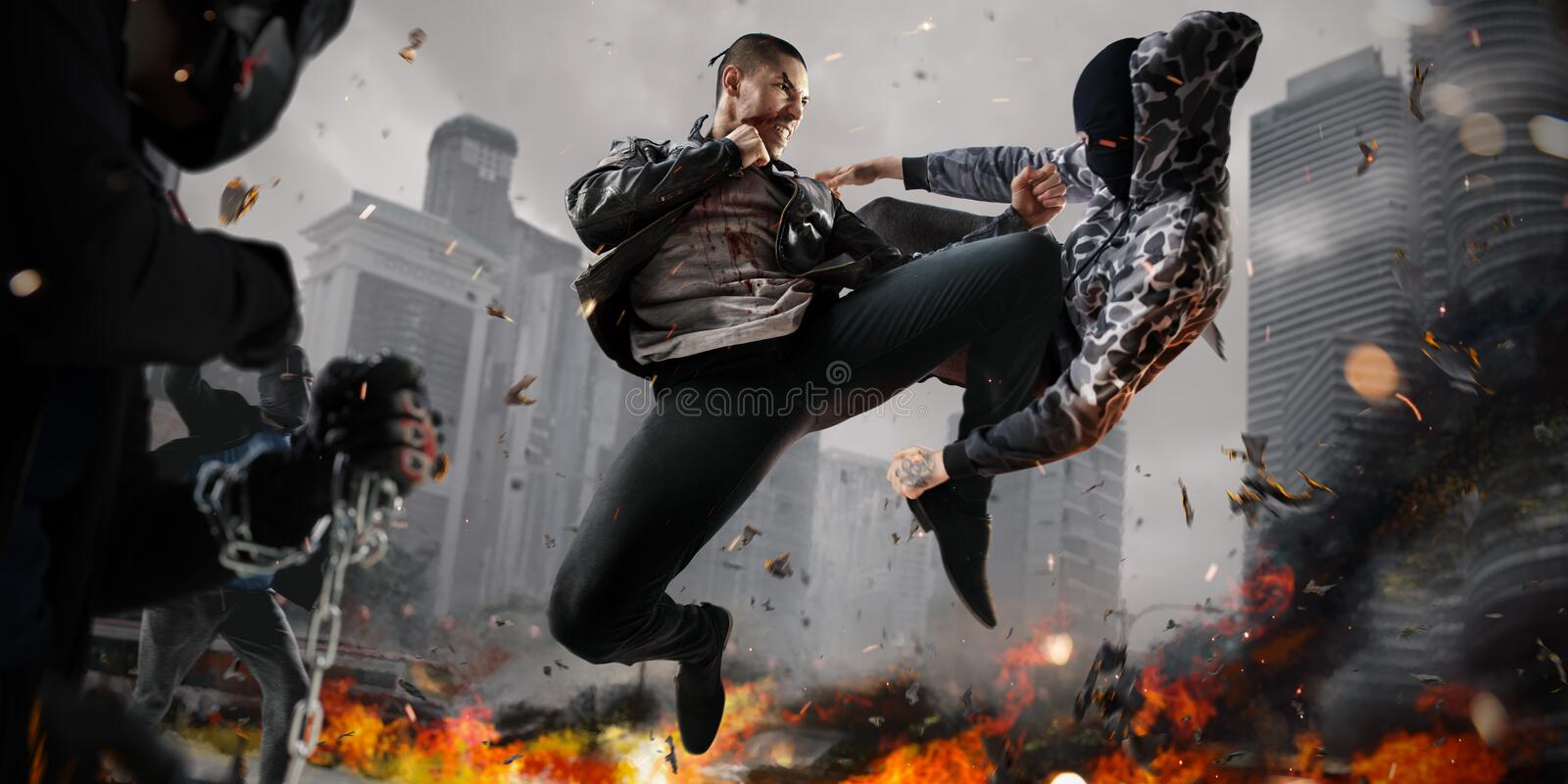 Street fighter super heroin action royalty free stock image